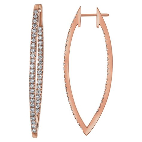 S Collection 2.0 CT. T.W. V Shape Hoop Earrings in 14K Rose Gold