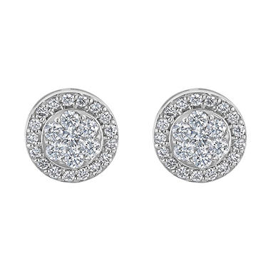 S Collection 1 CT. T.W.  Diamond Halo Stud Earrings in 14K White Gold