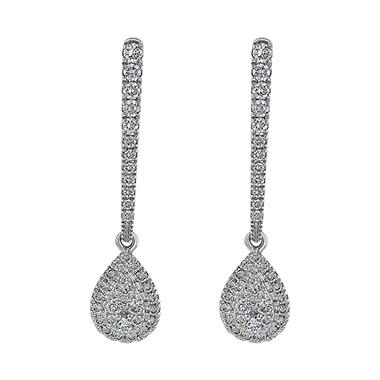 S Collection 1/2 CT. T.W. Diamond Pear Drop Earrings in 14K White Gold