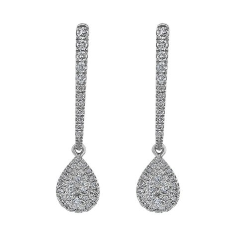 S Collection 0.55 CT. T.W. Diamond Pear Drop Earrings in 14K White Gold