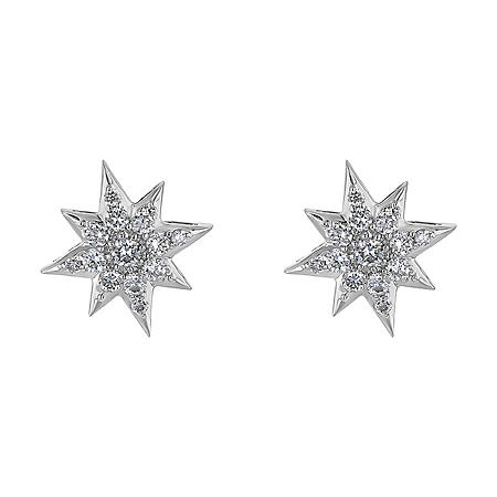 S Collection 0.40 CT. T.W. Diamond Star Stud Earrings in 14K White Gold