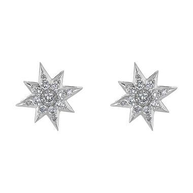 T W Diamond Star Stud Earrings In 14k White Gold