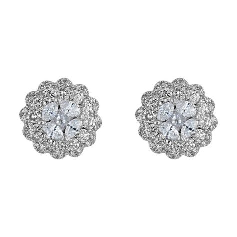 S Collection 1.50 CT. T.W. Diamond Composite Stud Earrings in 14K White Gold