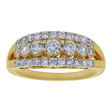 S Collection 1 CT. T.W. Three Row Ring in 14K Yellow Gold