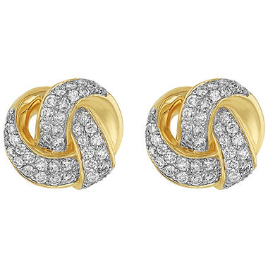 S Collection 0 55 Ct T W Love Knot Stud Earrings In 14k Yellow