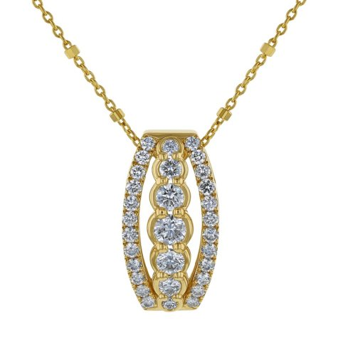 S Collection 1 CT. T.W. Three Row Drop Pendant in 14K Yellow Gold