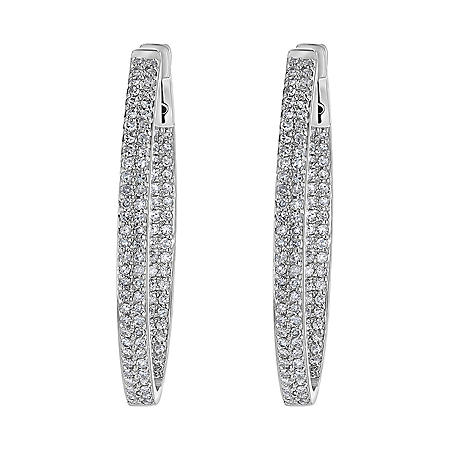 S Collection 1.0 CT. T.W. Hoop Earrings in 14K White Gold