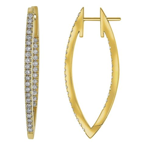 S Collection 1.0 CT. T.W. V Shape Hoop Earrings in 14K Yellow Gold
