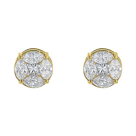 1.55 CT. T.W. Composite Stud Earrings in 14K Yellow Gold