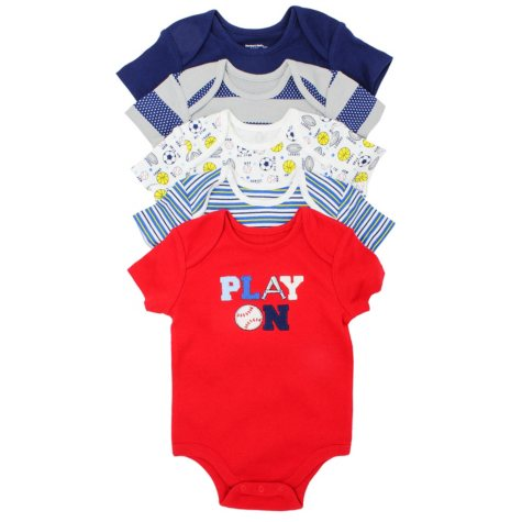 Member's Mark Boys' Sports 5 Pack Short Sleeve Bodysuits