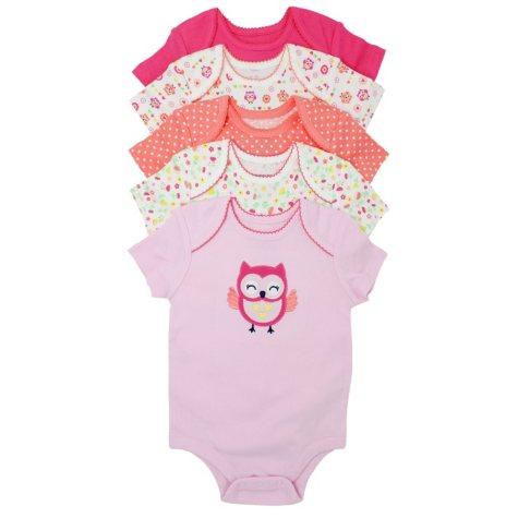 Member's Mark Girls' Owl 5 Pack Short Sleeve Bodysuits