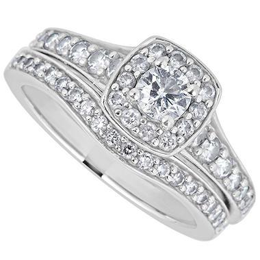 1 25 Ct T W Diamond Engagement Ring Set In 14k White Gold H I I1