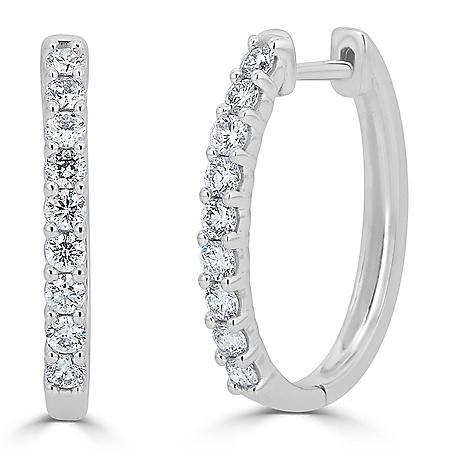 0.99 CT. T.W. Prong-Set Diamond Hoop Earrings in 14K Gold (HI, I1)
