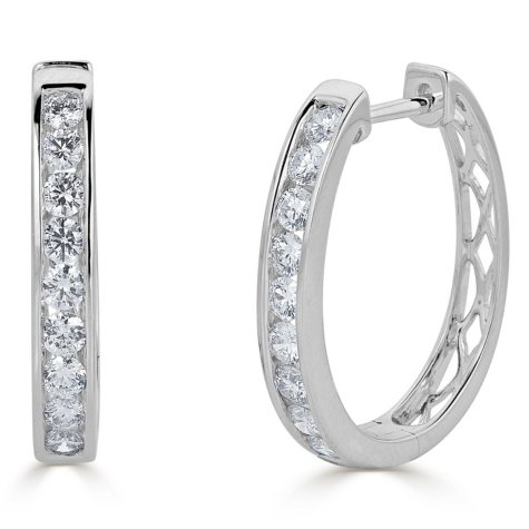 0.49 CT. T.W. Channel-Set Diamond Hoop Earrings in 14K Gold (HI, I1)