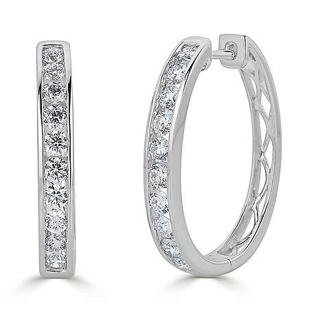 1.50 CT. T.W. Channel-Set Diamond Hoop Earrings in 14K Gold (HI, I1)