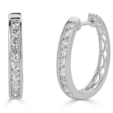 T W Channel Set Diamond Hoop Earrings In 14k Gold Hi