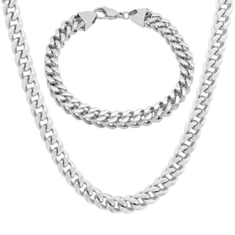 Stainless Steel Franco Link Chain and Bracelet Set
