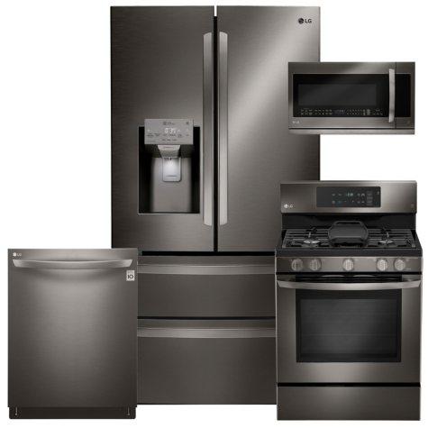 LG 4-Piece Kitchen Suite - LMXS28626D, LRG3193BD, LMHM2237BD, LDT5665BD, Black Stainless Steel (Gas)