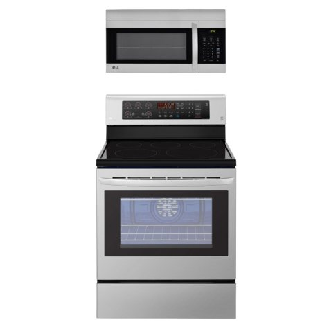 LG - LRE3193ST, LMV1762ST - Single Oven Range with True Convection and OTR Microwave with EasyClean Suite, Stainless Steel