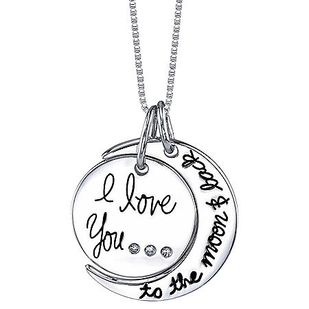 """0.015 CT. T.W. Diamond Accent """"I Love You to the Moon and Back"""" Necklace in Sterling Silver"""