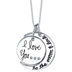 "0.015 CT. T.W. Diamond Accent ""I Love You to the Moon and Back"" Necklace in Sterling Silver"
