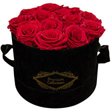 Everlasting Roses in Hat Box (Red or White Roses)