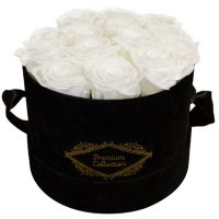 Everlasting Roses in Hat Box (White Roses)