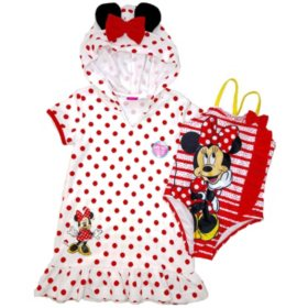 Minnie Mouse Coverup Dress and Swimsuit Set