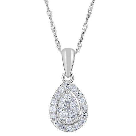 0.24 CT. T.W. Diamond Pear Shaped Pendant in 14K White Gold (H-I, I1)