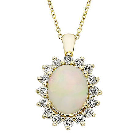 0.47 CT. TW. 14K Yellow Gold Ethiopian Opal & Diamond Pendant