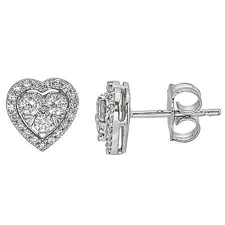 0.31CT. T.W. Diamond Heart Stud Earrings in 14K White Gold