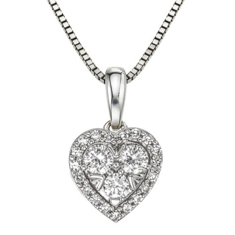 0.31 CT. T.W. Diamond Heart Pendant in 14K White Gold