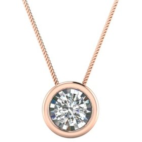 Diamond necklaces pendants sams club tw round bezel pendant in 14k gold aloadofball