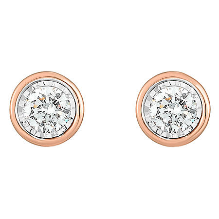 0.36 CT. T.W. Diamond Bezel Earrings in14K Gold