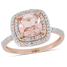 1 65 Ct Morganite And Diamond Accent Double Halo Ring In 14k Rose Gold