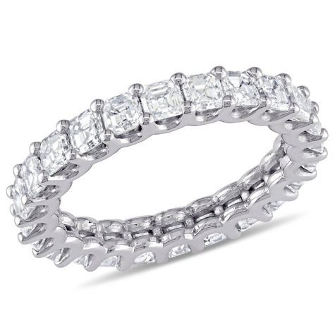 Allura 4 CT Asscher-Cut Diamond Eternity Ring in 18K White Gold