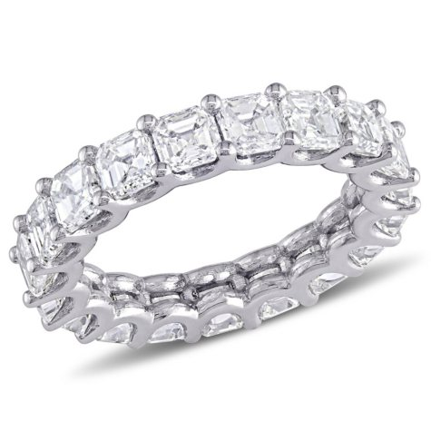 Allura 5.10 CT Asscher-Cut Diamond Eternity Ring in 18K White Gold