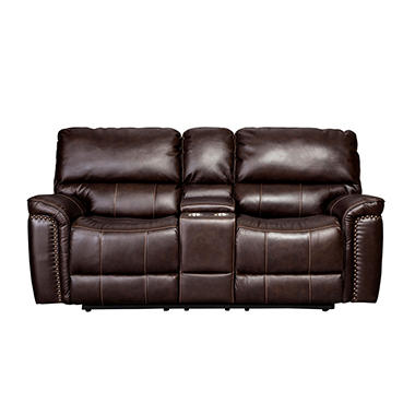 Memberu0027s Mark Buchanan Top Grain Leather Motion Loveseat