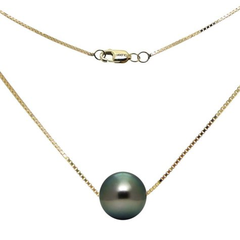 9-10mm Tahitian Pearl Swivel Box Chain Necklace in 14K Yellow Gold