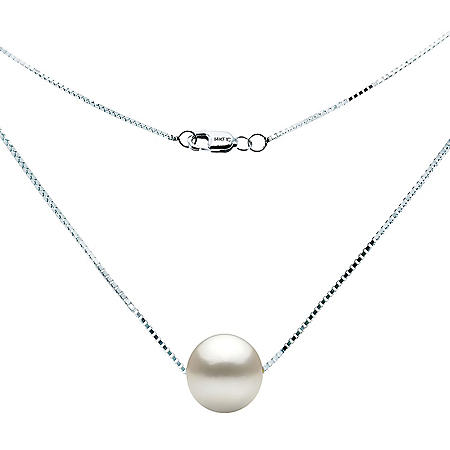 9-10mm Freshwater Pearl Swivel Box Chain Necklace in 14K White Gold