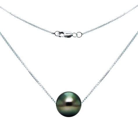 9-10mm Tahitian Pearl Swivel Box Chain Necklace in 14K White Gold