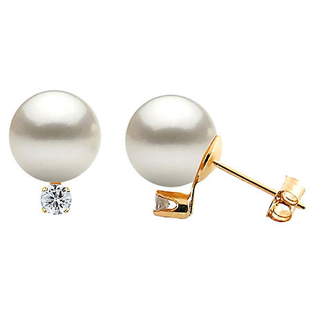 Diamonds and Cultured Pearls Earrings 14K Yellow Gold