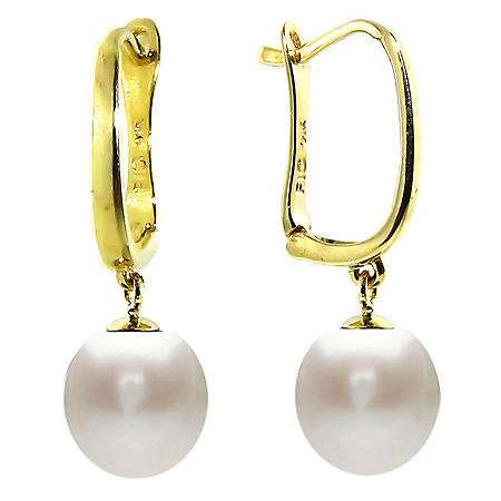 8-8.5mm Akoya Pearls Leverback Earrings in 14K Yellow Gold