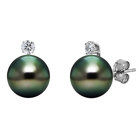 8-9mm Tahitian Pearls with Diamond Stud Earrings in 14K White Gold