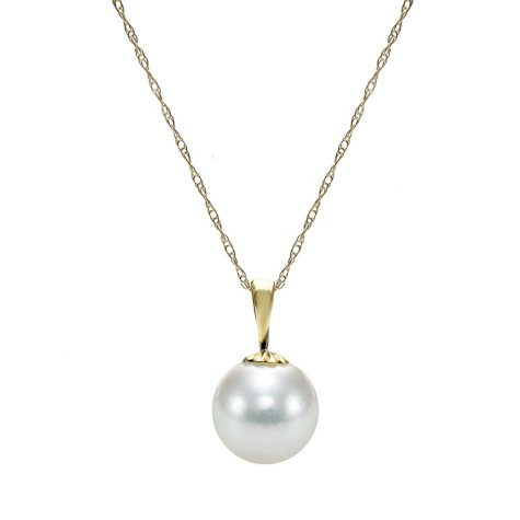 Akoya Pearl with Flower Cup Pendant in 14K Yellow Gold