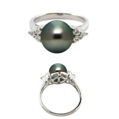 Tahitian Pearl & Diamond Ring in Sterling Silver