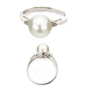 Freshwater Pearl & Dimaond Ring in Sterling Silver