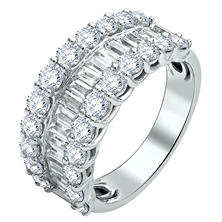 2.46 CT. T.W. Round and Baguette-Cut Diamond Anniversary Band in 14K White Gold