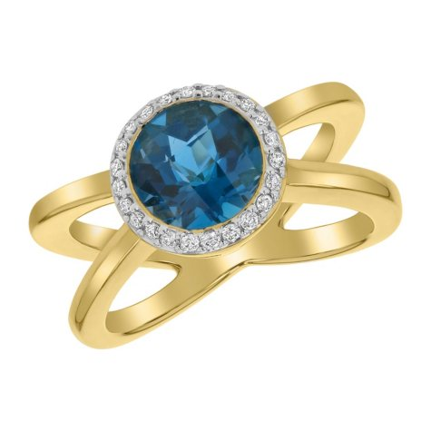 S Collection Criss-Cross Blue Topaz Diamond Halo Ring in 14K Yellow Gold