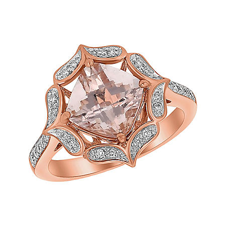 S Collection Morganite and Diamond Flower Halo Ring in 14K Pink Gold